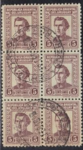 URUGARY SC# 497 **USED** 1939-43  5c BLOCK OF 6     SEE SCAN