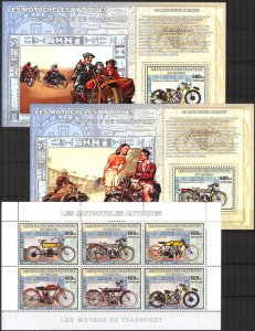 Congo 2006 Old Motorcycles sheet + 6 S/S MNH 3 scans