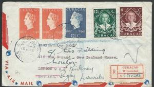 CURACAO 1949 registered cover Willemstad to London - NZ house..............62488