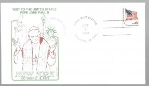 United States, 1598, Visit Pope John Paul II New York Souvenir Cover, Used #2