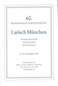 Larish: Sale # 60  -  60. Briefmarken-Versteigerung, A. L...