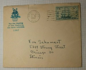 Christmas FL Cancel Cover 1947 Bery Abode Chicago IL Healing Nations