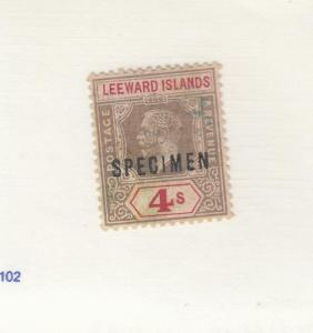 LEEWARD ISLANDS # 59 VF-MH KGV 1sh  SPECIMEN O/PRINT CAT VALUE $75