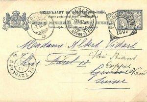 DUTCH EAST INDIES Stationery Card PASOEKOEAN? Forwarded Switzerland 1907 L13