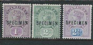 JAMAICA 1889-91 SET OF THREE OVERPRINTED SPECIMEN MM SG 27s/29s CAT £150