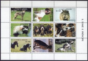 Sao Tome and Principe. 1995. 1548-56 bl327-328. Dogs. MNH.