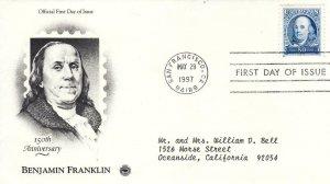 1997, 150th Anniv. Benjamin Franklin, PCS, FDC (E8069)