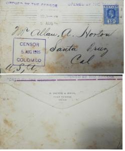 L) 1915 CEYLON, KING GEORGE, SCOTT A44, 15C ULTRA, CENSONRSHIP, XF