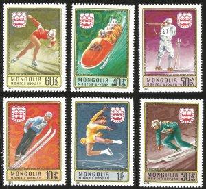 V)  1975 MONGOLIA, 12TH WINTER OLYMPIC GAME INNSBRUCK, AUSTRIA, SET OF 6, MNH