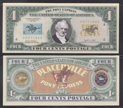 10 Pony Express Postal History Novelty Money Bills Lot