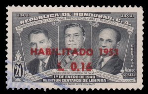 HONDURAS 1953 AIRMAIL STAMP. SCOTT: C208. USED.