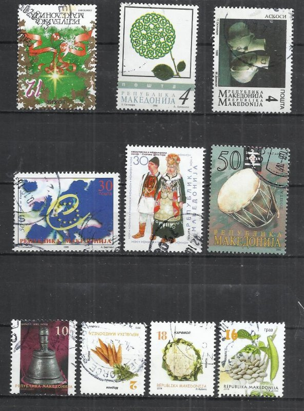 TEN AT A TIME - NORTH MACEDONIA - LOT OF 10 DIFFERENT 21 - POSTALLY USED