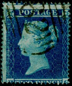 SG19, 2d dp blue PLATE 4, SC16, USED. Cat £100.