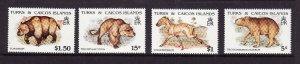 Turks & Caicos Is.-Sc#903//910-unused NH 1/2 set-Extinct Animals-1991-