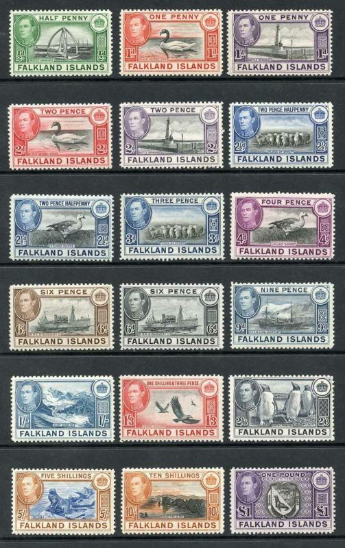 Falkland Islands SG146/63 1938-50 KGVI Complete Set of 18 Mixture of U/M and M/M