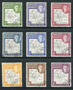 Falkland Is Deps SG G9/16 Thin Map Set of 9 Very Fine used