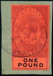 Gibraltar SG85 1915 KGV £1 dull purple & black/red Fine Used