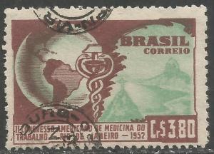 BRAZIL 733 VFU MAP V425-1