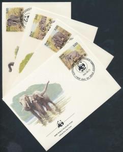 Sri Lanka stamp WWF elephant set 4 FDC 1986 Mi 753-756 WS178361