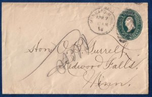US Sc U311A Postal History Cover Stamped Envolope Cancel Mankato,Minn.(1896):