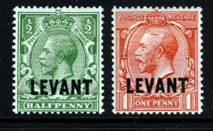 BRITISH LEVANT KG V 1913 Overprinted Wmk Simple Cypher Set SG L16 & L17 MINT