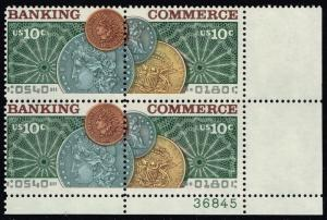 US #1578a Banking & Commerce P# Block of 4; MNH (1.20)
