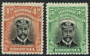 RHODESIA 1913 KGV ADMIRAL 4D AND 5D DIE I PERF 14
