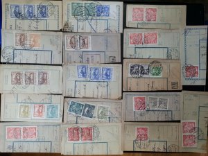 sd1-CZECHOSLOVAKIA 1920s Lot of (85) Parcel Card Cut-outs. Many with Postage Due