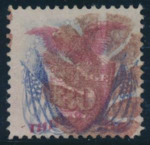#121 30c 1869 F-VF USED WITH RED FANCY LEAF CANCEL CV $650+ BU7941