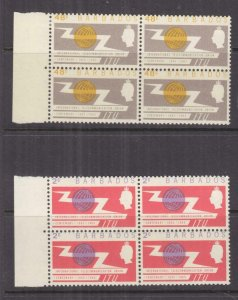 BARBADOS, 1965 ITU Centenary pair, blocks of 4, mnh/lhm