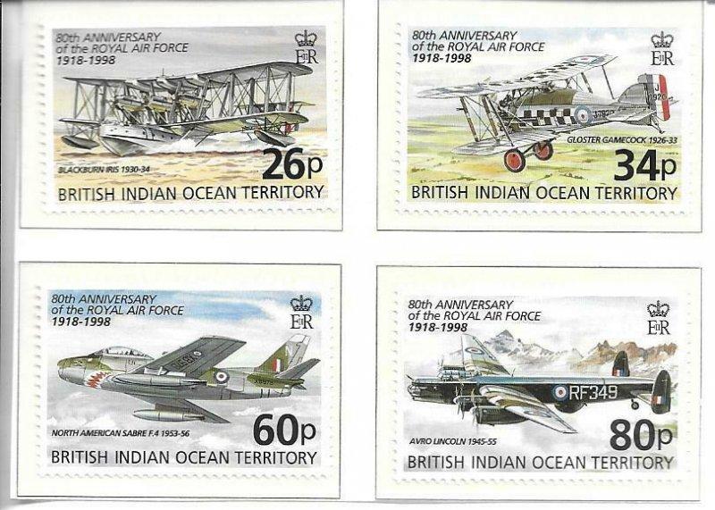 1998    BRITISH INDIAN OCEAN TERRITORY -  SG. 215 / 218  -  R.A.F.  -  MNH
