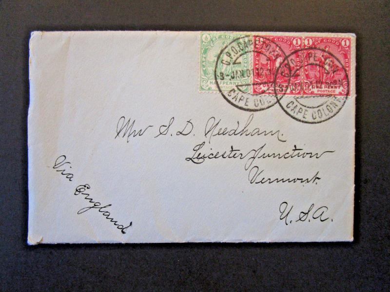 Cape of Good Hope 1901 Cover to USA w/ Enclosed Letter (I) - Z5351