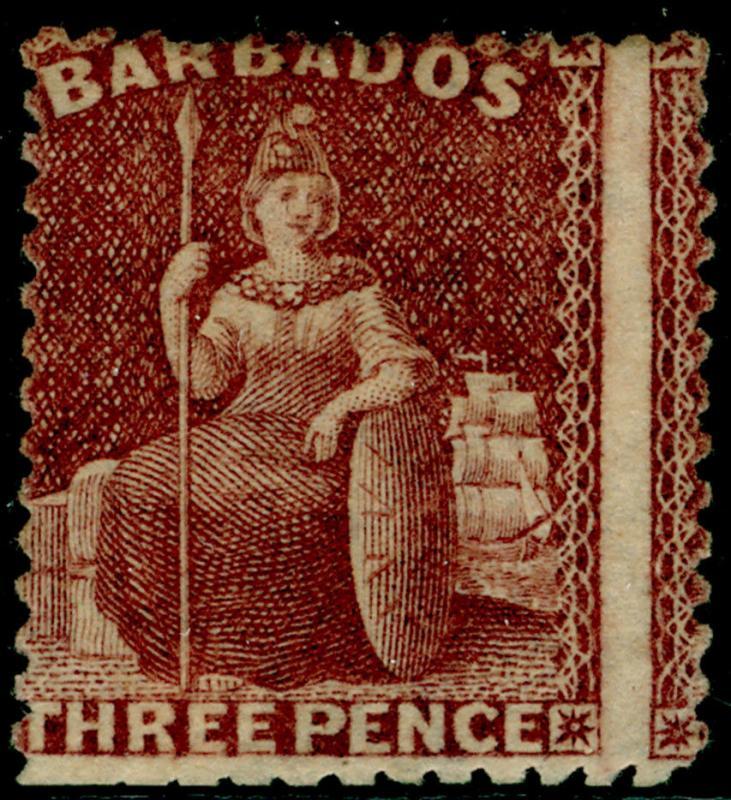 BARBADOS SG63, 3d brown-purple, M MINT. Cat £325.