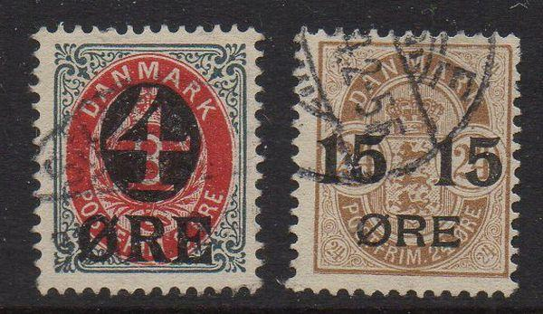 Denmark Sc 55-6 1904-1912 overprints stamp set used