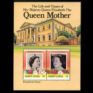 ST.LUCIA 1985 - Scott# 786 S/S Queen Mother NH