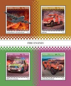 SIERRA LEONE - 2018 - Fire Engines - Perf 4v Sheet - MNH