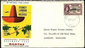 FIJI 1964 Qantas first flight cover to London.............................71658W