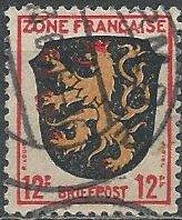 Germany 4N6 (used) 12pf arms of Palatinate (1945)