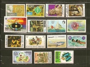 Grenada Lot of 15 Different 1970's Stamps MNH