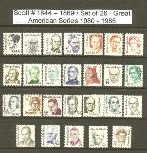 US Scott # 1844-69 Great Americans  26 MNH Stamps