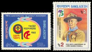Bangladesh 209-210, MNH, 75th anniversary Scouting