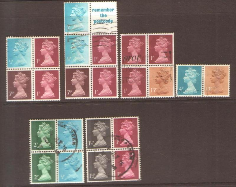 GB used se-tenant stamps booklet panes and part panes
