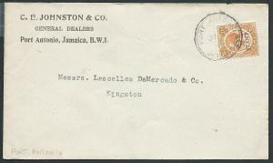 JAMAICA 1919 cover 1½d War Tax ex PORT ANTONIO.............................42833