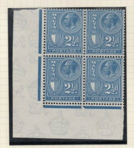 Malta 1926-27 Early Issue Fine Mint Hinged 2.5d. Block 321594