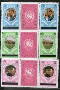 Caicos Islands 1981 Diana Royal Wedding Prince 3v Gutter Pair Sc 8-10 MNH # 586