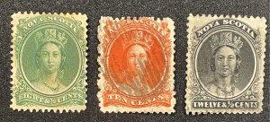 Nova Scotia (Canada) #11 MH?? + 12,13 Used (c1860-1863) Queen Victoria (SCV~$64)