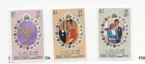 Brunei, 268-70, Royal Wedding 1981, Singles, MNH