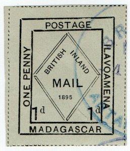 (I.B) Madagascar Postal : British Inland Mail 1d (Ilavoamena)