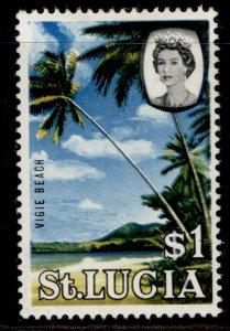 ST. LUCIA QEII SG209, $1, M MINT.