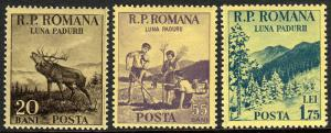 Romania 984-986, MNH. Month of the Forest.Red Deer,Planting trees,Mountains,1954